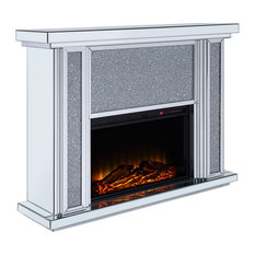Wood/Mirror Electric Fireplace With Faux Crystal Dusted Face, Clear/Black