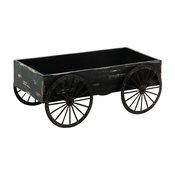 Country Wood Wagon Cart Weathered Black Large Wheels Patio Decor