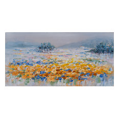 """Magical Yellow Flowers"" Hand Painted Canvas Artwork; Fine Art; Modern"