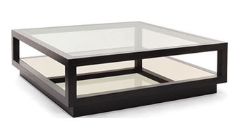 Square coffee table with glass and mirror