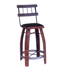 Chocolate Leather Stool With Back Caramel 24-inch