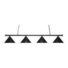 "Oxford 4 Light Bar In Matte Black, 14"" Matte Black Cone Metal Shades Glass"