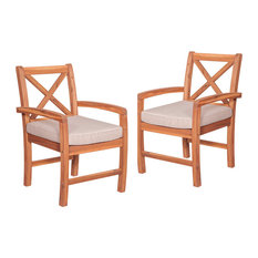 X-Back Acacia Patio Chairs With Cushions, Set of 2