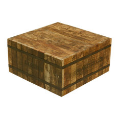 Butcher Block with Metal Square Coffee Table