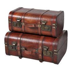 vidaXL Treasure Chest Brown Vintage Wooden Storage Travel Suitcases Steamer