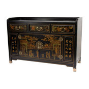 Village Life Buffet Table in Black Lacquer Finish