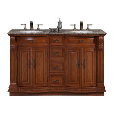 Silkroad Exclusive Granite Stone Top Double White Sink Bathroom Vanity with Furn