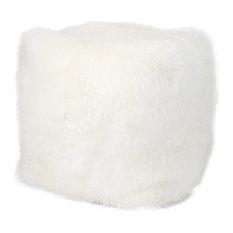 Mina Victory Fur Remen Poly Faux Fur White Throw Cube