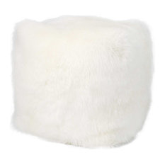 Mina Victory Fur Remen Poly Faux Fur White Throw Cube
