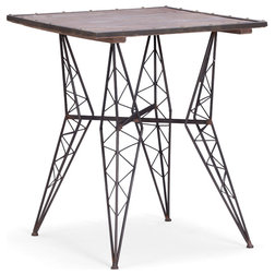 Best Contemporary Indoor Pub And Bistro Tables Heavy Metal Bistro Table With Distressed Wood Top