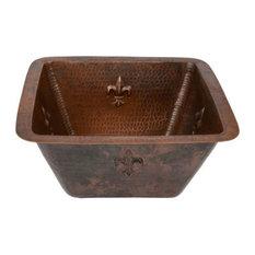 """Premier Copper Products - Premier Copper 15"""" Square Fleur De Lis Copper Bar/Prep Sink With 2"""" Drain - Bar Sinks"""