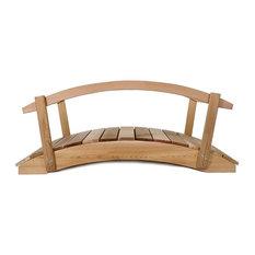 """All Things Cedar Red Cedar Plank Garden Bridge With Rails, 36"""""""