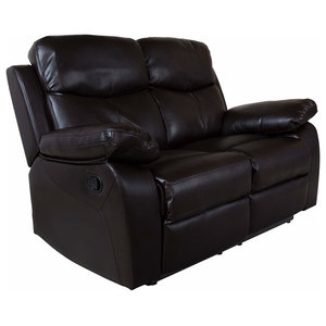 Modern 2 Seater Manual Recliner in Brown Faux Leather with Armchair for Comfort