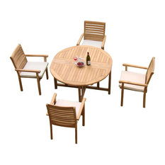 "Teak Deals - 5-Piece Teak Dining Set, 48"" Round Butterfly Table, 4 Hari Stacking Arm Chairs - Outdoor Dining Sets"