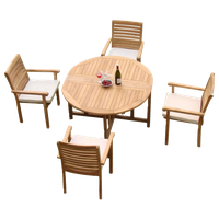 """5-Piece Teak Dining Set, 48"""" Round Butterfly Table, 4 Hari Stacking Arm Chairs"""