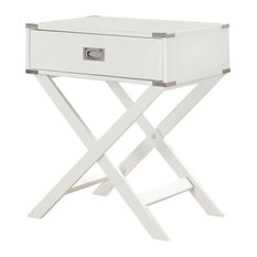 Casa Furnish Store - White Modern Bedroom Decor 1-Drawer Bedside Table Nightstand End Table - Nightstands and Bedside Tables