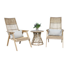 3-Piece Teak Bohemian Basket Lounger Set With Matching Accent Table