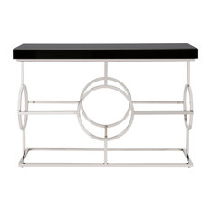 Lovely Howard Elliott Collection   Howard Elliott Stainless Steel Console Table  With Black Top   Console Tables