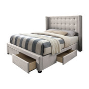 Savoy Storage Wingback Bed, Beige