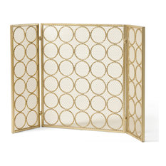 Koda Modern 3-Panel Iron Fire Screen, Gold