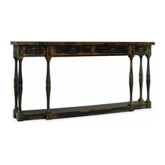 Clemence Console Table, Distressed Black