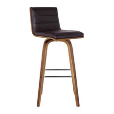 Vienna 26-inch Counter Height Barstool Walnut Wood Finish With Brown Faux Leather