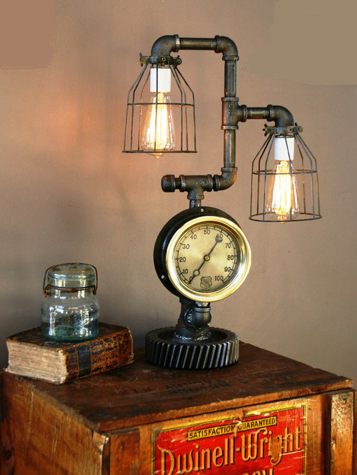 Machine Age Lamps Steampunk Gear Steam Gauge   Table Lamps