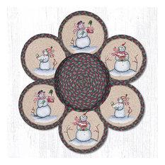 "Earth Rugs TNB-508 Snowman Trivets in a Basket 10"" x 10"""