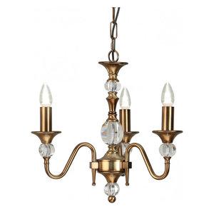 Pendant Light - Antique brass finish & clear crystal (k9) glass detail