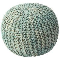 Butler Pincushion Green Woven Pouffe