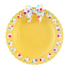 Decorative Round Yellow Ceramic Ribbon Plate, Primary Gumdrops Ribbon