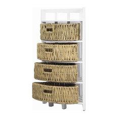 34.25' White Wood Corner Storage with 4 Hyacinth Baskets