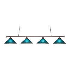 Toltec Lighting 374-BRZ-715 Oxford - Four Light Bronze Billiard
