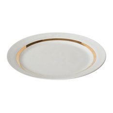 Large Porcelain and Gold Dinner Plates, Set of 4