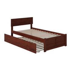 Atlantic Furniture Orlando Twin XL Platform Panel Bed with Trundle in Walnut