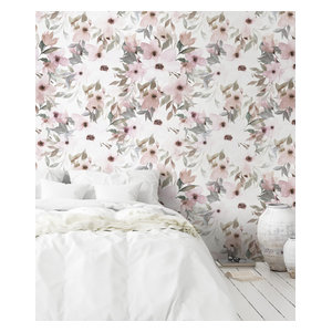 Peony Flower Mural Wall Art Wallpaper Peel And Stick Contemporary Wallpaper By Simple Shapes