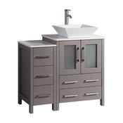 "Vanity Art Vanity Set With Vessel Sink, Gray, 36"", Standard Mirror"