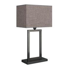 Rectangular Base Grey Table Lamp