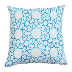 Astrid Trellis Hand Printed Blue Pillow