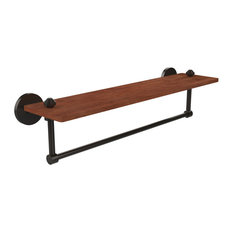 "South Beach Collection 22"" Solid IPE Ironwood Shelf With Integrated Towel Bar"