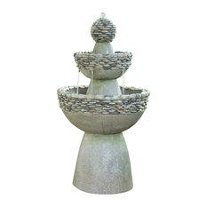 Outdoor Stone-Look 2-Tier Floor Fountain