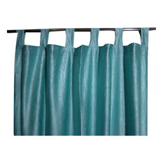Mogul Interior - Window Dressing Aero Blue Tab Top 2 Sari Curtain Drape Panel - Curtains