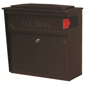 Mail Boss Townhouse Security Locking Wall Mount Mailbox, Bronze