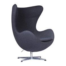 LeisureMod Swivel Accent Egg Chair With Tilt-Lock Mechanism, Dark Gray Wool