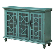 Coast to Coast Imports, LLC - 3-Door Media Credenza, Bayberry Blue Rub-Through - Entertainment Centers and Tv Stands