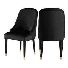 Omni Velvet Dining Chair with Gold Tipped Black Wooden Legs, Set of 2, Black