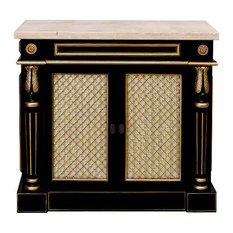 Black And Gold Vellagio Classico Hallway Chest 36-inch Ivory Front/Cream Marble