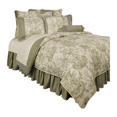 Sherry Kline Country Toile Green 6-Piece Sateen Comforter Set, King