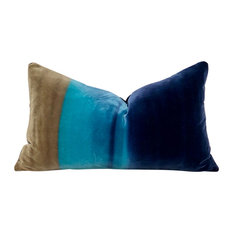"Ombre  Lumbar Pillow Cocoa, Lagoon, Blueberry Amazilia Pillow, 12""x20"""