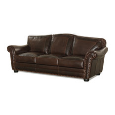 Traditional Leather Sofa With Window Pane Stiching